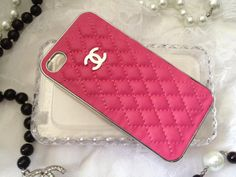 Quilted iPhone 4 4s Hot Pink Chrome Silver