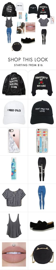 """Untitled #159"" by kristyng03 ❤ liked on Polyvore featuring High Heels Suicide, Nasaseasons, Casetify, Moschino, Topshop, Hollister Co., RVCA, Nine West and Betsey Johnson"