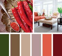 Un fuerte contraste entre verde y rojo, para una paleta de color picante con mucho sabor.