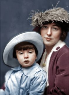 Evelyn Nesbit Thaw and her son, Russell. C.1913. (Colorized Photo).