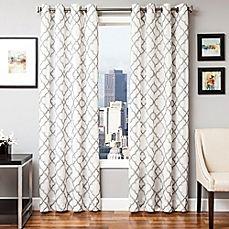 image of Softline Zenon Embroidered Grommet Top Window Curtain Panel
