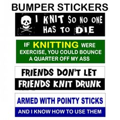 KNITTING BUMPER STICKER/DECALS