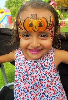 Fall Festival Face Painting Ideas - The Best Picture of Painting Theme Halloween, Halloween Design, Halloween Make Up, Pumpkin Face Paint, Pumpkin Faces, Face Painting Halloween Kids, Painting For Kids, Halloween Facepaint Kids, Facepaint Ideas