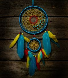 Bright dream catcher blue red dreamcatcher by MyFantasticDreams