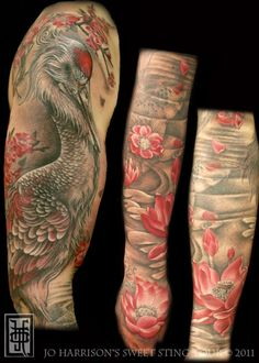 Jo Harrison japanese crane, koi and cherry blossom tattoo