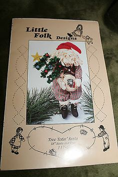 "Primitive Folk Art 18"" Santa and Tree Pattern from Little Folk Design"