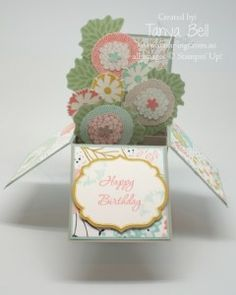 SALE-A-BRATION card in a box featuring Stampin' Up! Petal Parade stamp set #StampinUp