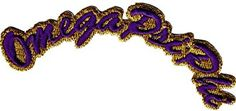 "[Single Count] Custom and Unique (3.5"" Inch) Cresant Simple Basic Omega Psi Phi Mini Script Design Iron On Embroidered Applique Patch {Purple & Yellow Colors}"