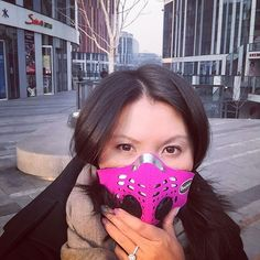"""Ready to take on Beijing's second red alert smog with my new #darthvader styled pollution mask #respro#beijing"""