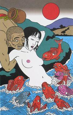 "Toshio Saeki sharkchunks: "" shuitu: "" This is an enormous post of Toshio Saeki's work. Bizarre Kunst, Art Bizarre, Weird Art, Strange Art, Japanese Graphic Design, Japanese Prints, Japanese Art, Japan Illustration, Fantasy Kunst"