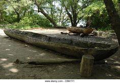 Plimoth Plantation or Historical Museum. Canoe. Wampanoag Indian tribe. Plymouth. Massachusetts. United States. - Stock Image