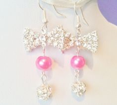 Hot Pink Bridesmaid Earrings Hot Pink Earrings by InfinityByClaire, £5.29