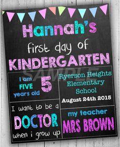 First Day Of School Sign, Kindergarten Sign, Back To School Sign, Chalkboard School Sign, First Day Of Kindergarten, Printable Photo Prop  CAN