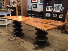 Eastern white pine and blackened steel dining table