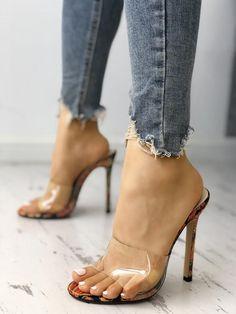 Transparent Single Strap Thin Heeled Sandals We Miss Moda is a leading Women's Clothing Store. Hot High Heels, Platform High Heels, High Heel Boots, Lace Up Heels, Pumps Heels, Stiletto Heels, Heeled Sandals, Strappy Sandals, Flat Sandals