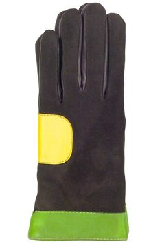 Rich dark brown Lamb skin Leather Gloves color block with beautiful colors chartreuse and yellow leather and contrasting top stitchings details. Fully lined in merino wool to keep your hands warm. These gloves will look very stylish with your coat. Available in size 7 only.   Brown Colorblock Leather by Santacana Madrid. Accessories - Winter Accessories Portland, Oregon