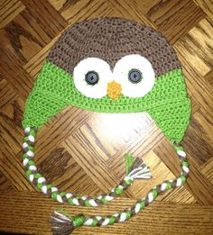 Green owl hat! Check out LDJ Crochet on Facebook!