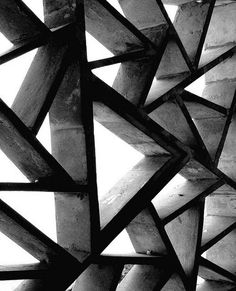 Geometric patterns in architecture, black & white photography