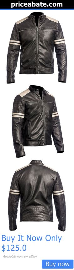 Men Coats And Jackets: Mens Genuine Lambskin Leather Jacket Black Slim Fit Motorcycle Jacket-497 BUY IT NOW ONLY: $125.0 #priceabateMenCoatsAndJackets OR #priceabate