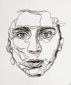 Ink drawing, by Kris Trappeniers. a continuous line drawing of a portrait Life Drawing, Drawing Sketches, Art Drawings, Drawing Faces, Pencil Drawings, Drawing Style, Drawing Tips, Drawing Ideas, Fun Sketches
