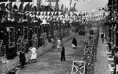 With the Royal Wedding expected to cause celebration across the country, we look at how street parties have changed over time Manchester Uk, Queen's Coronation, Coronation Street, Weekend Events, British Countryside, Salford, London Street, Vintage Photography