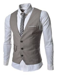 TheLees Mens slim fit chain point 3 button vest Beige Large(US Medium):Amazon:Clothing