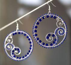 wire beaded hoop earrings Metal Jewelry, Beaded Jewelry, Handmade Jewelry, Jewellery, Handmade Wire, Women's Jewelry, Earrings Handmade, Silver Jewelry, Silver Rings