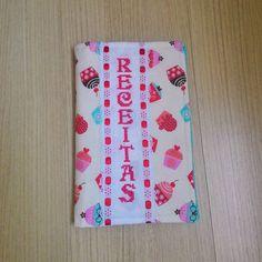 Capa de caderno de receitas, costura criativa e ponto cruz