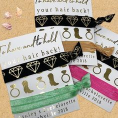 White with Gold Diamond Print Hair Ties Bachelorette Party Gifts Hen Do Party Bag Gifts Gold Diamond Design Hair Ties Bridal Shower