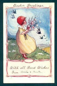 B9136 Flora White postcard, Easter, blue bird, cherry | eBay