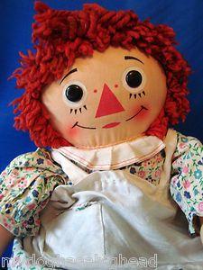 """*RAGGEDY ANN ~ Vintage 16"""" Knickerbocker Raggedy Ann Cloth Doll 1960s"""