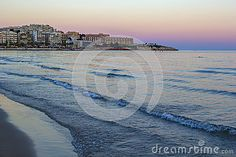 Scenic colorful sunset at the sea coast, Costa Darado, Spain