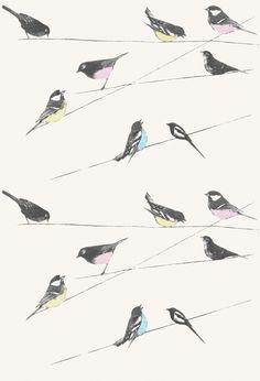 Garden Birds/Stone | Fabrics | Louise Body