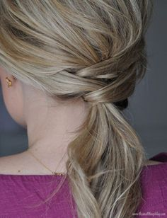 20 Must-See Ponytails From Pinterest - Braided section in the back.