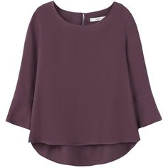 Mango Ruffled Sleeve Blouse, Dark Purple ($52) ❤ liked on Polyvore featuring tops, blouses, evening tops, cocktail blouses, evening blouses, special occasion tops and cocktail tops