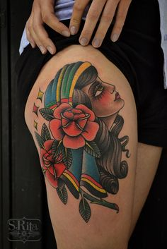 tattoo old school / traditional nautic ink - doll face / pink flower pinup