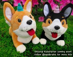 Surprise! Banjo and Luna the unicorgi have flown into my mailbox with their sparkle corgi power and are ready to be mass made! I will be launching a Kickstarter within the next few weeks so please stay tuned if you want to reserve your's. I will be releasing fun little photos of their chubby tumtums cute lil toe beans and flippy floppy ears over the next few days! #corgiaddict #corgiart #momomonday #plushcorgi #artistofIG #artistworkout #corgi #dog #puppy #plush by squidbrains