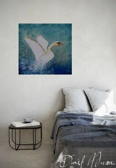 Painting of a white swan taking flight from the surface of water - created using acrylics on canvas Swan Painting, White Swan, Mixed Media Canvas, Bird Art, Birds In Flight, Delivery, David, Tapestry, Link