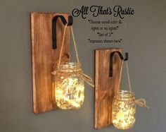 Initial Mason Jar Wall Sconce Mason Jar Decor por AllThatsRustic