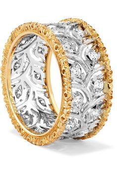 Buccellati | Ramage Eternelle 18-karat white and yellow gold diamond ring | NET-A-PORTER.COM