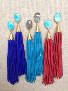Stud Beaded Tassel Earrings by GoldenstrandJewelry on Etsy, $120.00