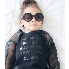 Words of wisdom from a three year old: Be Smart Be Cool Be A Rebel But Stay Classy Loving this top from @lofficielenfant designed by @miguelvieiraofficial  Don't forget to stop by the blog today if you want to know how to get your kiddies into modeling. Scoutthecity.com
