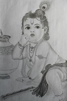 Ganesha Sketch, Ganesha Drawing, Lord Ganesha Paintings, Krishna Painting, Krishna Art, Lord Krishna, Radha Krishna Sketch, Baby Krishna, Shiva Art