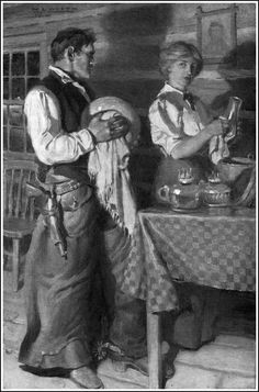 Illustration by N. C. Wyeth from Century Magazine 1908This so reminds me of Chris's grandmother. She lived outside of Laramie and fed anyone who stopped..but they had to help with dishes. It was in the middle of nowhere.