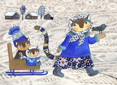 ru / -- I should probably start a quilt and applique board but. --image only Photography Illustration, Cute Illustration, Arte Indie, Winter Cat, Various Artists, Cat Love, Cat Art, Smurfs, Folk Art