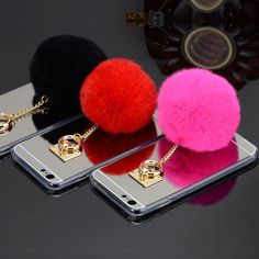 Fur Ball Chain Mirror Protective Case For iPhone 6 6sPlus