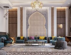 This modern Arabian interior has an arch, lively colors, bold patterns, Moroccan light fixtures, and plenty of formal seating. Moroccan Home Decor, Moroccan Interiors, Moroccan Design, Moroccan Bedroom, Modern Moroccan, Moroccan Lanterns, Luxury Home Decor, Luxury Interior, Modern Interior Design