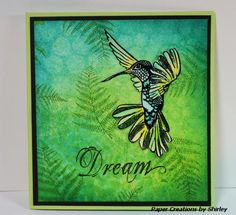 Designs by Ryn: Flying Hummingbird 2, Fern, stencil: Crafters Workshop Mini Circle Explosion, bg:  Dylusions Inks and the Mini Circle Template, stamped  Fern w/ M. Grass, embossed Hummingbird, coloured w/ Tombow markers, fussy cut,  Paper Creations by Shirley