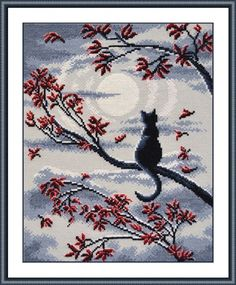 """COUNTED CROSS STITCH KIT   LUNAR CAT    PRODUCT DETAILS:  Size: 9.05 x 11.41 """" (23 x 29 cm) Basis: a coated canvas Aida-14 gray, 100% cotton Booklet: color scheme Threads: floss Gamma colored threads, 100% cotton (7 colors). instructions In addition: the set includes a needle. Embroider 3 thread  The frame in kit is not included. Manufacturer: Oven (Russia)"""