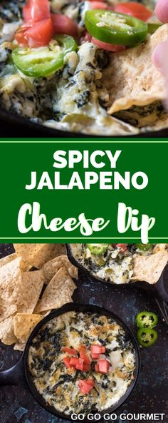 This Easy Spicy Jalapeno Spinach Dip recipe is baked right in the oven to make the perfect Super Bowl snack! You could even add bacon to kick it up a notch! Spinach Cheese Dip, Jalapeno Cheese, Jalapeno Sauce, Appetizer Recipes, Dip Recipes, Spicy Appetizers, Party Recipes, Spicy Recipes, Yummy Recipes